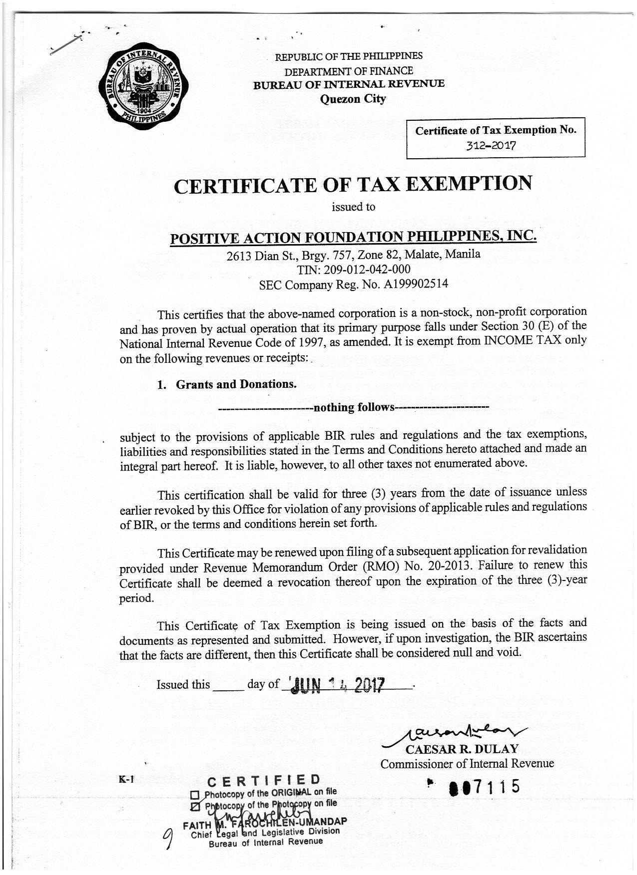 certificate tax exemption